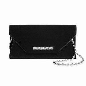 Velvet Black Bag Clutch w Chain